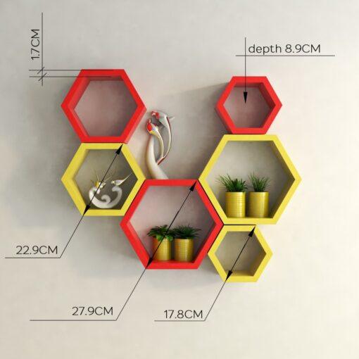hexagon floating wall racks for wall decor