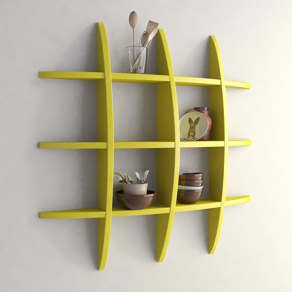 living room display racks yellow