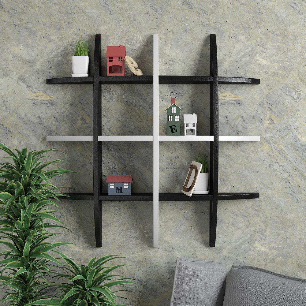 modern wall decor shelf black white for sale