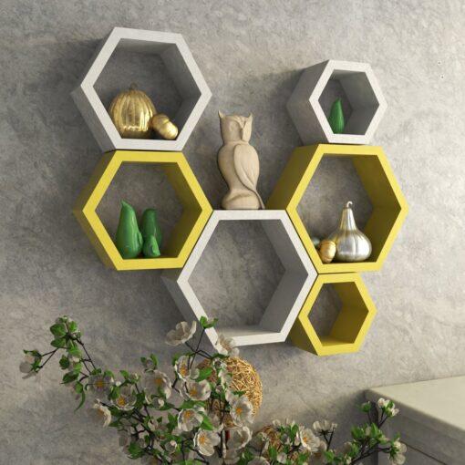 online india sale hexagon wall racks yellow white