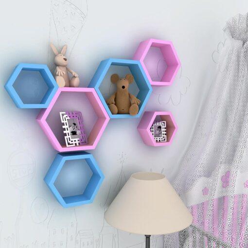 pink skyblue hexagon wall shelf for sale
