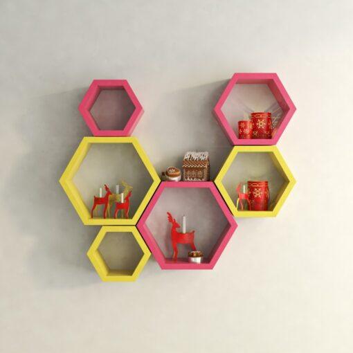 pink yellow hexagon wall racks for home decor