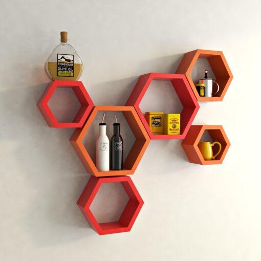 red orange hexagon shelves for sale