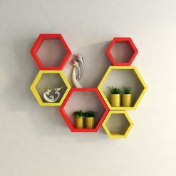red yellow hexagon wall shelves for sale