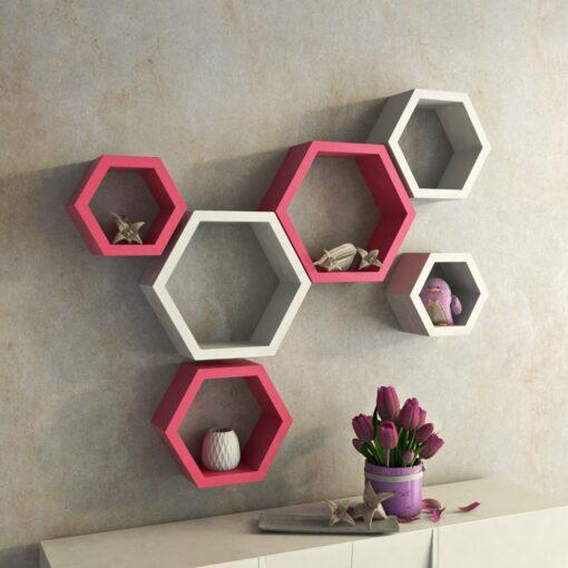 set of 6 pink white wall racks for home decor