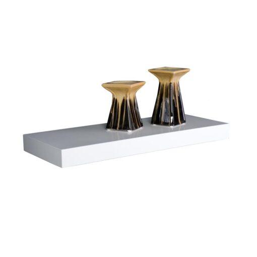 single floating wall mounted shelf white