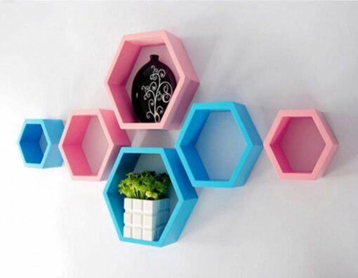 skyblue pink set of 6 hexagon wall racks