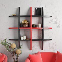 wall decor shelf display rack black red
