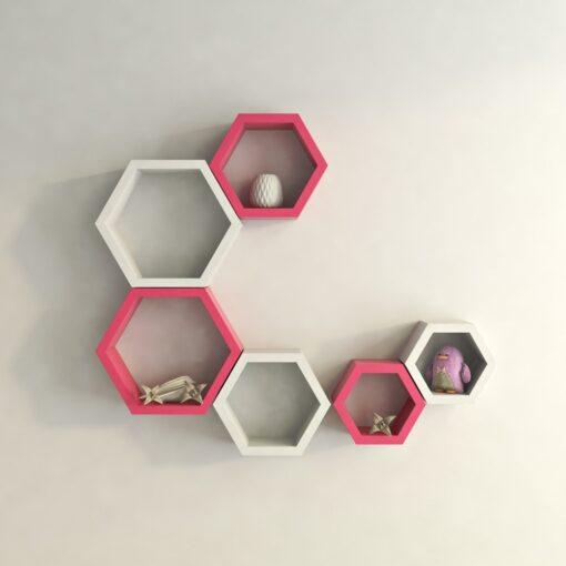 wall mounted hexagon pink white wall shelf brackets