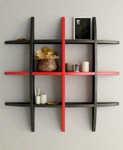 wall shelf display rack black red