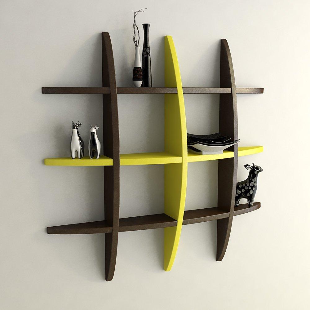 wall shelf unit brown yellow