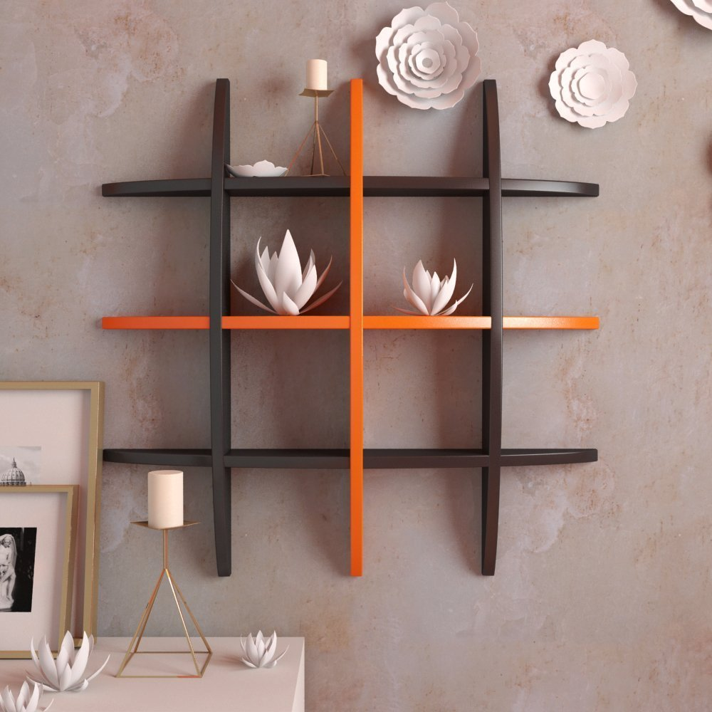 wall shelves black orange for home