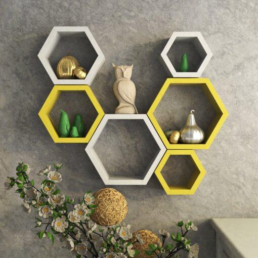 yellow white decornation hexagon wall racks for sale
