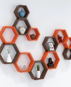 12 mounted hexagon wall shelves brown orange
