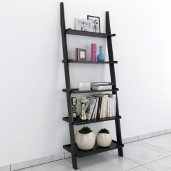 Black bookcase ladder shelf for display