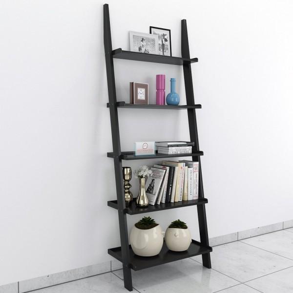 Black bookcase ladder shelf for display