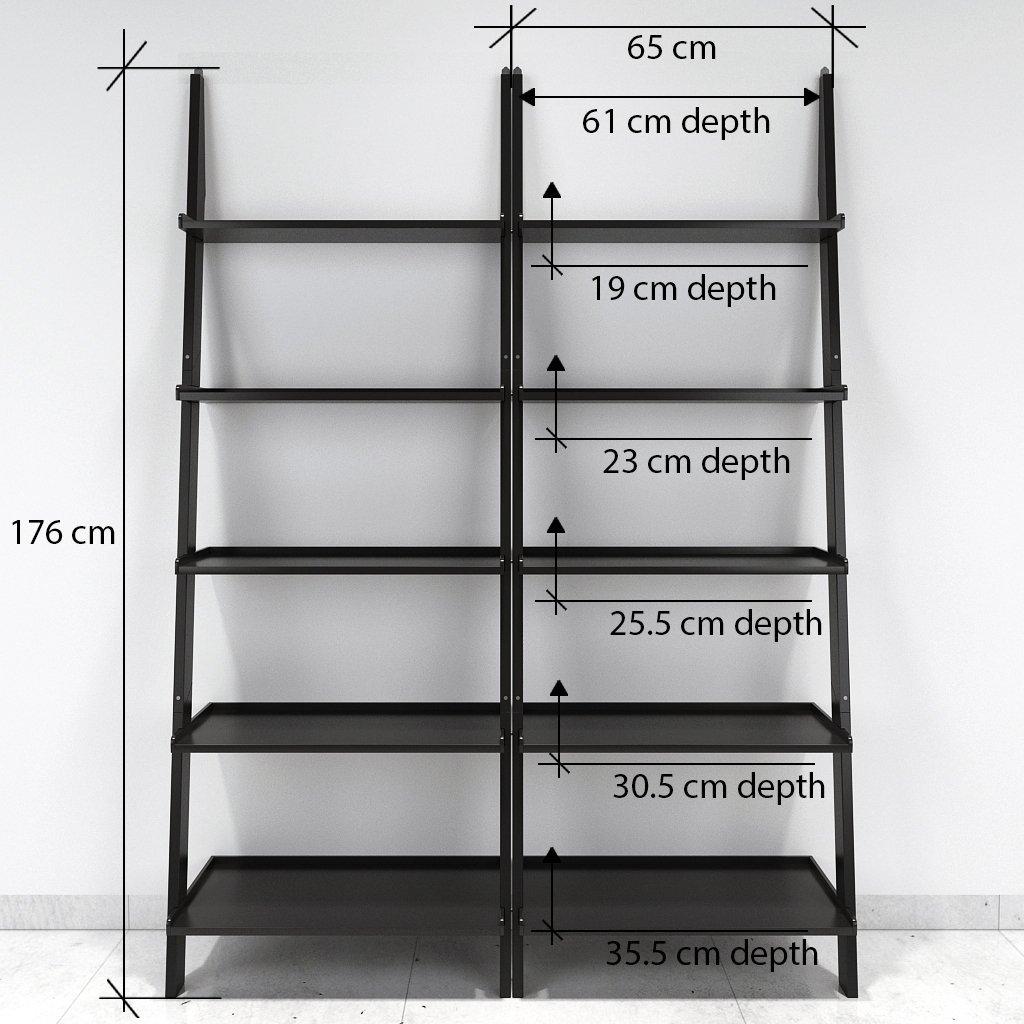 black ladder shelf for storage and display