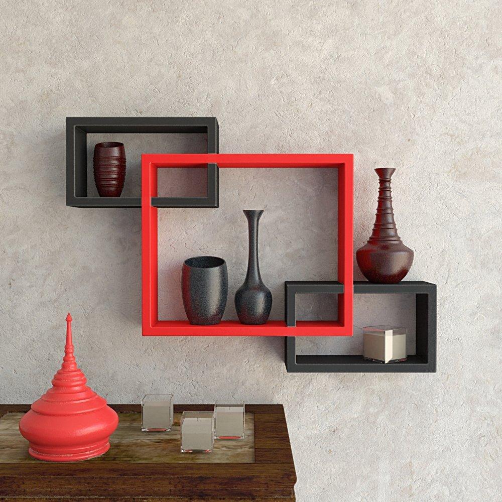 Set Of 3 Rectangular Intersecting Floating Wall Shelf Black Red