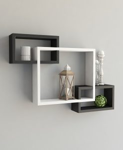 black white decorative intersecting wall shelves