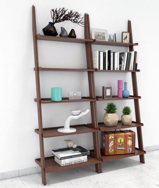 brown decorative set of 2 ladder shelf