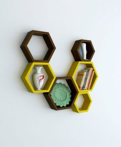 brown green hexagon wall racks for sale