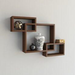 brown intersecting wall racks for display