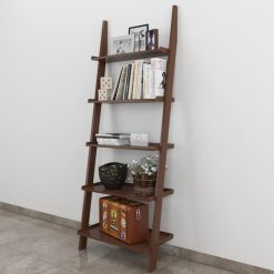 brown ladder shelf for storage and display