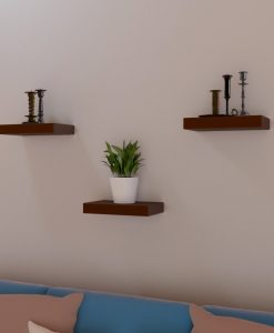 brown set of 3 contemporary wall shelves