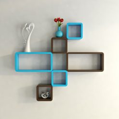 brown skyblue designer wall decor shleves for home