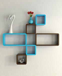 brown skyblue designer wall decor shleves for home