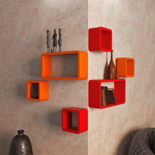 buy decorative livingroom wall shelves orange red