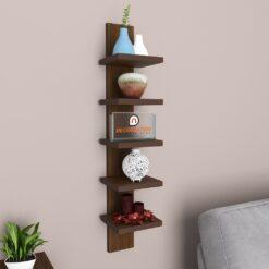 buy decornation 5 tier spine wall rack rich walnut for storage