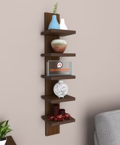 buy decornation 5 tier spine wall rack rich walnut for storage