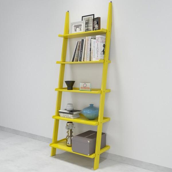 Jasper Leaning Wall Bookcase Ladder Shelf - Yellow eb44ffdc94d2