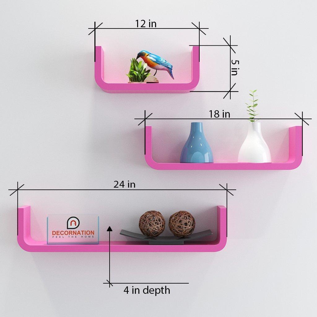 buy decornation round corner u shape wall shelves pink