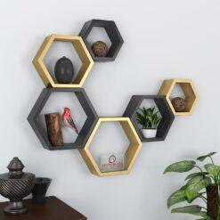 buy decornation golden black wall shelves