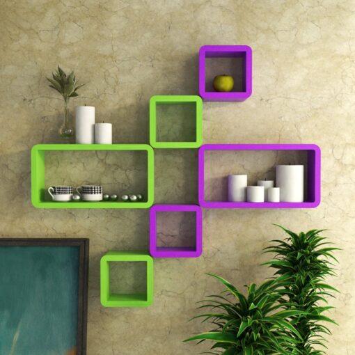 buy designer bedroom wall racks set of 6 purple green