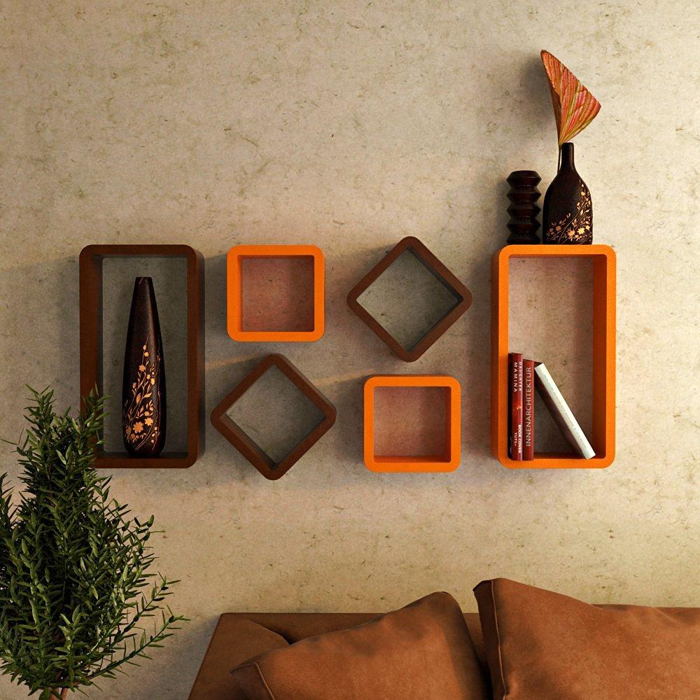 buy online wall shelves india orange brown