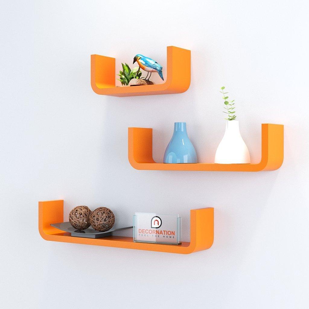 release date 07835 93e4e Set of 3 U Shape Round Corner Floating Wall Shelves for Storage & Display -  Orange