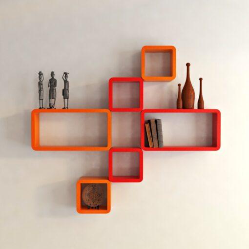 buy wall shelf unit online india orange red