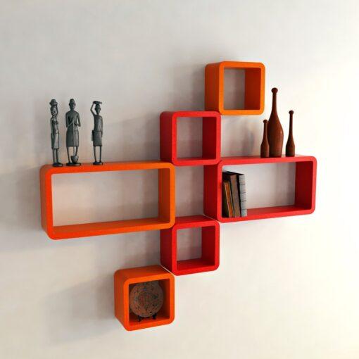 buy wall shelves online orange red