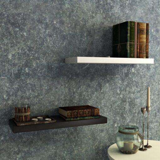 contemporary livingroom wall decor shelves black white