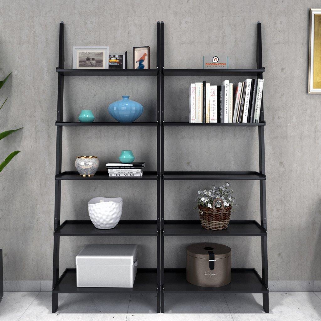contemporary style set of 2 ladder shelf
