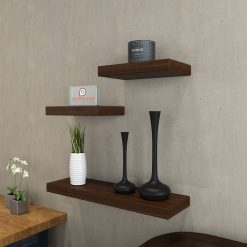 contemporary wall racks rich walnut in sets of 3