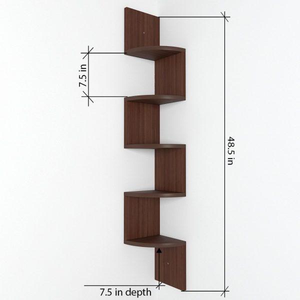 corner wall mount shelf zigzag
