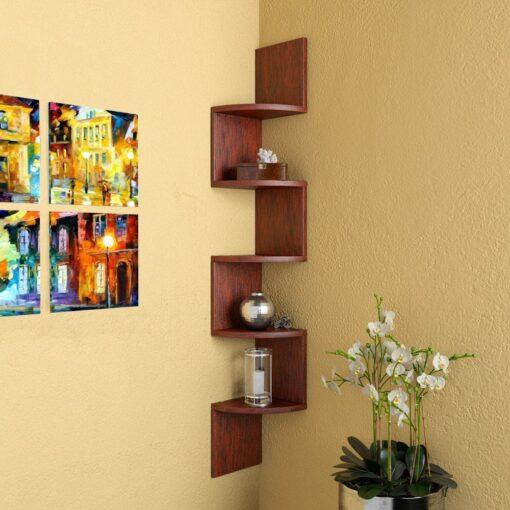 corner zigzag display unit for home decor
