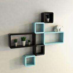 cube rectangle black skyblue decorative wall shelves