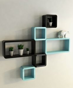 cube rectangle black skyblue decorative wall shelves
