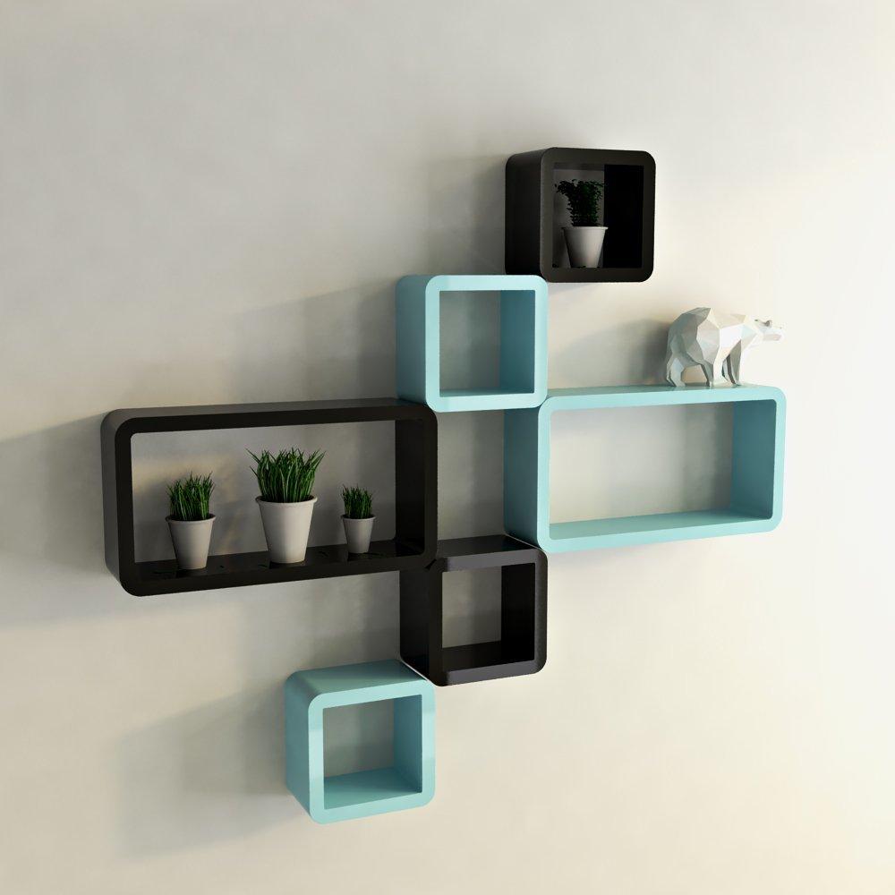 Black and sky blue six cube rectangle display wall shelf - Cube wall decor ...
