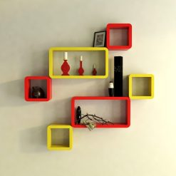 cube rectangle red yellow wall racks for storage and display